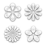 Set of white paper flower buds, vector illustration.