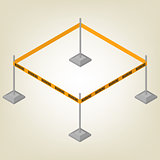 Warning tape for fencing isometric, vector illustration.