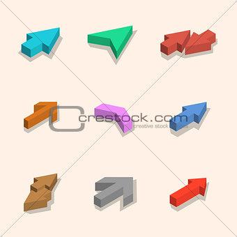 Flat arrows isometric, vector illustration.