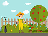 Farmer Gardener Man with Watering Can and Tomato Plant in Modern