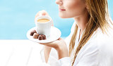 Drinking coffee in the morning
