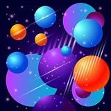 Abstract beautiful bubbles planet and stars