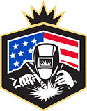 Welder Arc Welding USA Flag Crest Retro