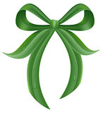 Green grass leaf bow knot with drops of dew