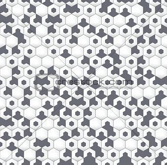 Gray irregular geometric seamless pattern with hexagons.