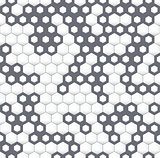Gray irregular geometric seamless pattern with hexagons.