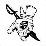 Pirate emblem - black mark. A hand holding a coin. Vintage black emblem. Vector pirate badge
