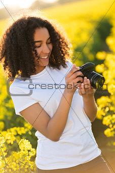 Beautiful Mixed Race African American Girl Teenager Using Camera
