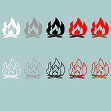 Bonfire white grey black red grey icon.