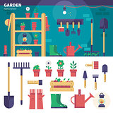 Gardening equipment in the garage