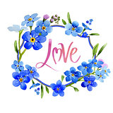 Wildflower myosotis arvensis flower wreath in a watercolor style isolated.