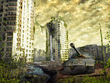 The tank in the ruins of the city. Apocalyptic landscape