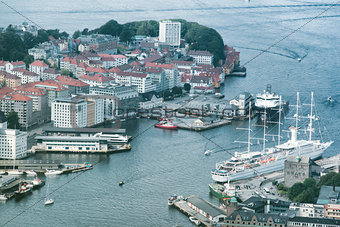Aerial view of Bergen City, Norway. Large sail ship docked at th