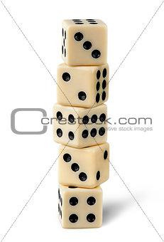 Five gaming dice