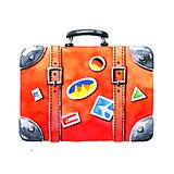 Red tourist suitcase