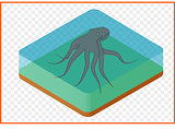 octopus vector isometric