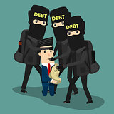Businessman in debt. Vector Business concept cartoon illustration.