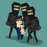 Businessman in debt. Vector Business concept cartoon illustration.