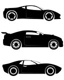Three sportcar silhouettes