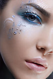 Close up beauty head shot woman with fantasy makeup