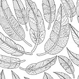 Seamless Ethnic feathers. Tribal Feathers Vintage Pattern. Hand Drawn Doodles illustration
