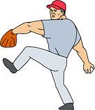 Baseball Player Pitcher Ready to Throw Ball Cartoon