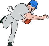 Baseball Player Pitcher Throw Ball Cartoon