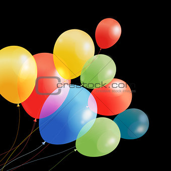 Bright multicolored holiday vector balloons