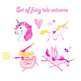 Vector illustration set of unicorns