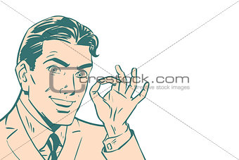 OK gesture of businessman, isolated background