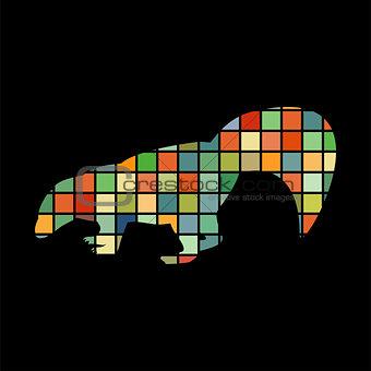 Skunk mammal color silhouette animal