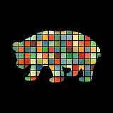 Panda bear mammal color silhouette animal