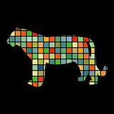 Tiger wildcat bird color silhouette animal