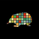 Echidna mammal color silhouette animal
