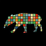 Tapir mammal color silhouette animal