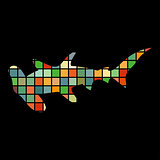 Shark hammerhead predator nautical color silhouette animal