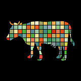 Cow farm mammal color silhouette animal