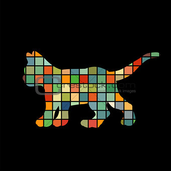 Kitten cat pet color silhouette animal
