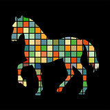 Horse farm mammal color silhouette animal