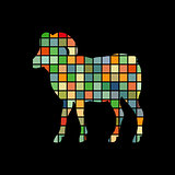Ram farm mammal color silhouette animal