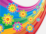 Bright summer flowers on curved rainbow