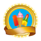 Ice cream and ice lollies on shield and banner