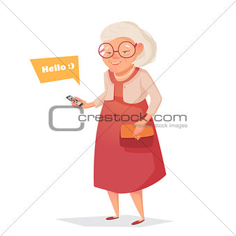 Old woman with glasses with phone.