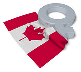 female symbol and flag of canada - 3d rendering