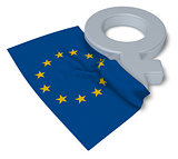 female symbol and flag of the european union - 3d rendering