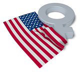 female symbol and flag of the usa - 3d rendering