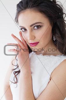 Portrait of bride wedding dress Crown