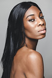 Black beautiful woman with perfect skin