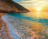 Sunset Myrtos Beach (Greece,  Kefalonia, Ionian Sea).