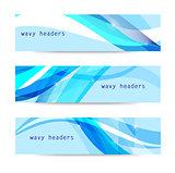 Vector set of abstract blue wavy headers